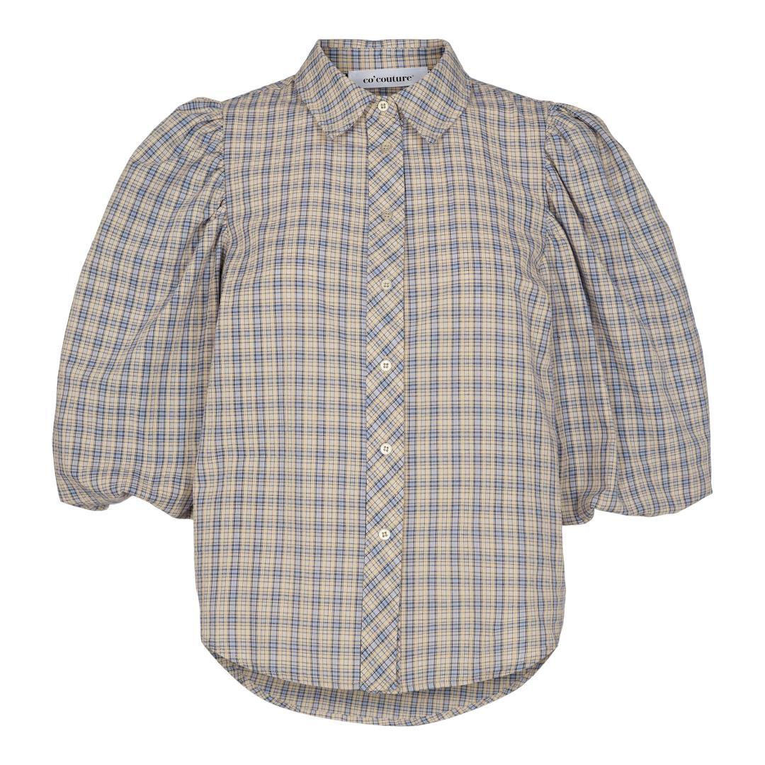 Blue Mini Check Puff Shirt